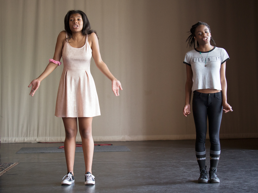 Slam poet finalists rehearse for competition, Arts Corps