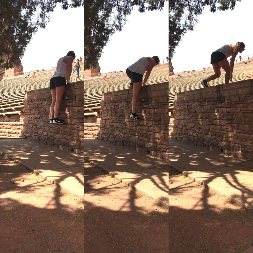 You can also do some workouts on the planters along the sides of the seating.  Wearing:    Zella Top    Lulu Lemon Shorts    Nike 5.0 Shoes