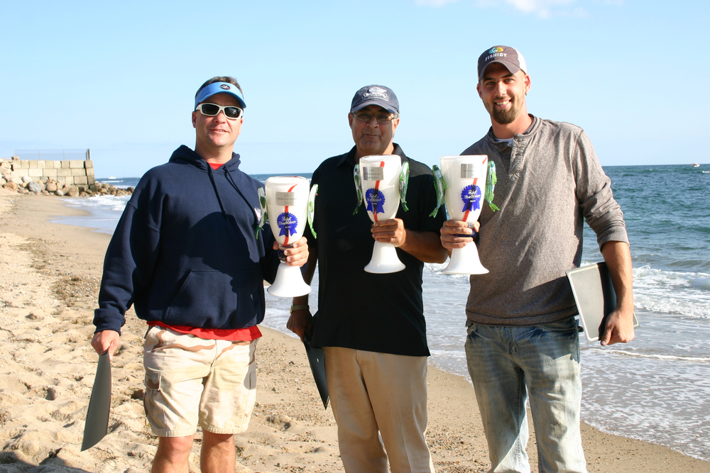 1st place winners (from left): Michael Larson (Bluefish), Peter Vican (Bass by Boat), Chris Wallis (Fluke). John Bruno (Bass by Shore) was unable to attend.