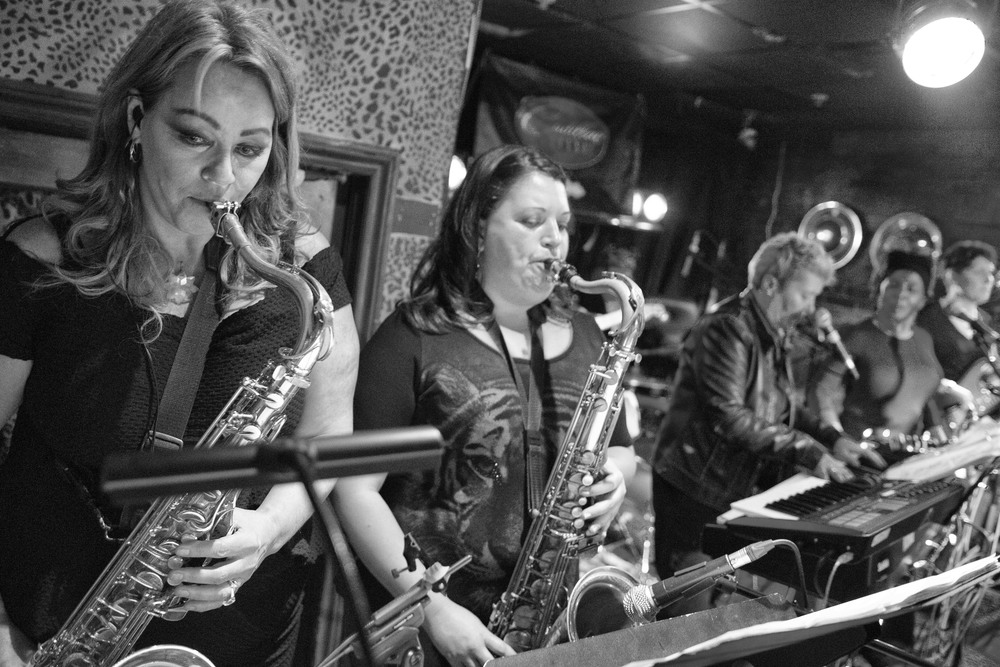 Our wonderful sax section, Carrie and Elena