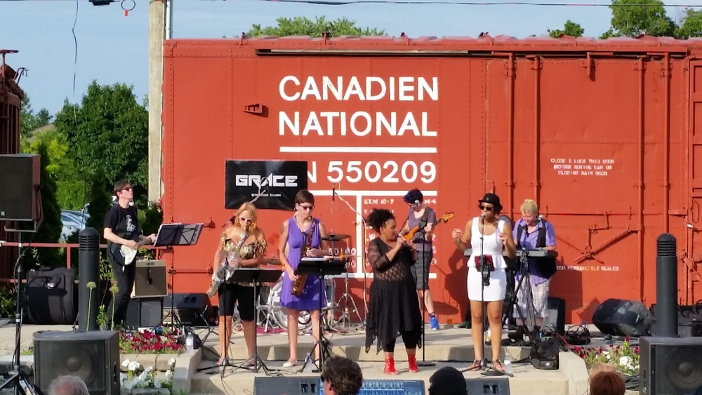 Yes, we played in front of CN railway cars...