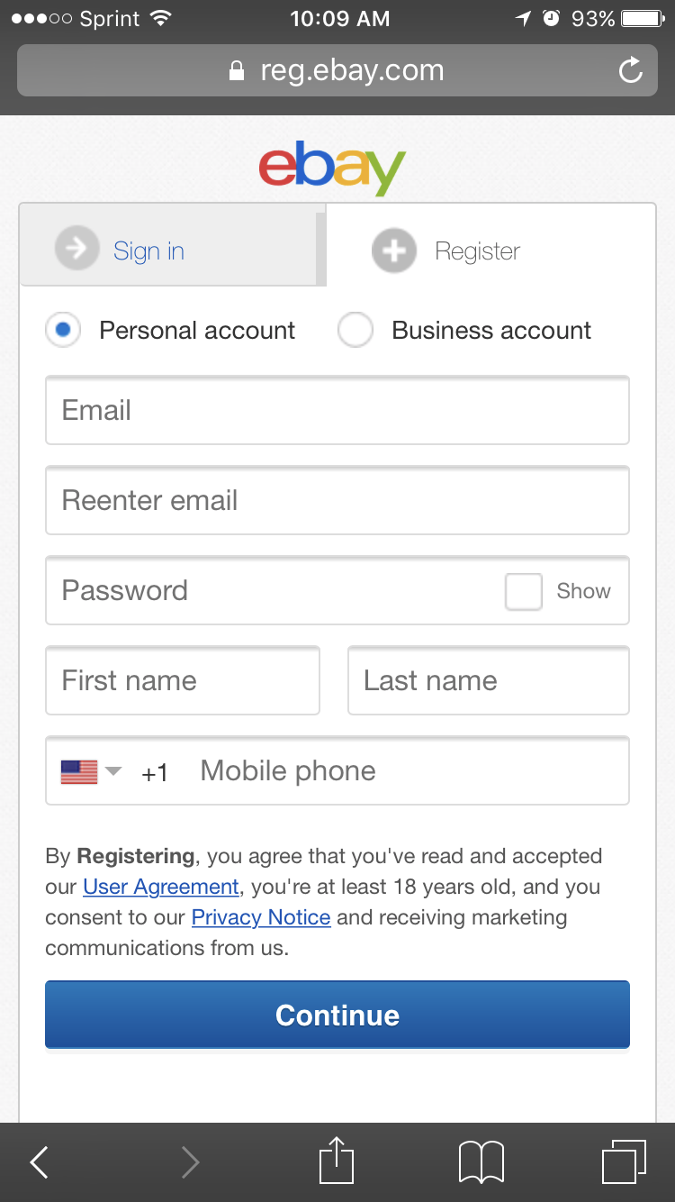 Mobile web registration screen