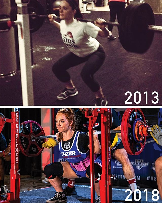 🤯 SQUAT TRANSFORMATION 2013-2018 🤯 (the 2nd swipe is a video. Wait for it... 🤪) I remember hitting a 120lb squat in Crossfit class and being absolutely shocked when my coach told me that I probably will have 160lbs in a few weeks. I was like 'ur trippin, but ok' - I'm pulling old photos and video this week as I'm making an update to 'My Fitness Journey' for YouTube. I'm thankful my annoying ass uploaded this when I did so we can see the transformation of my squat strength and technique over the years. - I was not always strong, and this journey had a lot of fails and ups and downs. This progress was back and forth, full of disappointments, and just as many fun training sessions as there were bad ones (mostly average ones). But, I did get stronger, and a lot better at lifting. - Friday I'll be sharing my fitness journey update on YouTube! I'll let you know when its up 😋😝