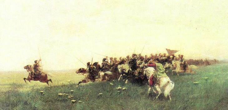 Franz Roubaud. Zaporoshian Cossack Assault (1886).