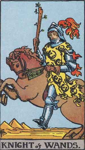 Knight of Wands from the Rider-Waite Tarot