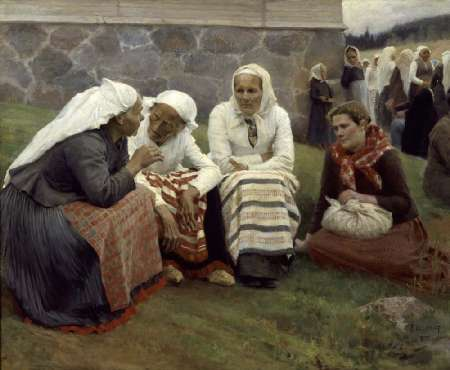 """WOMEN OF RUOKOLAHTI ON THE CHURCH HILL"" by Albert Edelfelt"