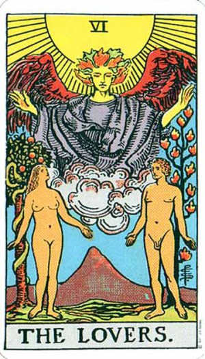 """The Lovers: from the Rider-Waite Tarot"
