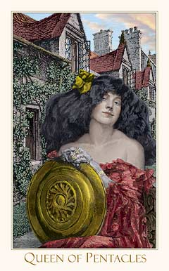 Queen of Pentacles from the Victorian Romantic Tarot by Alex Ukolov & Karen Mahony