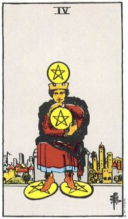 4 of Pentacles from the Rider Waite Tarot