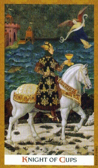 """Knight of Cups"" from the Golden Tarot"