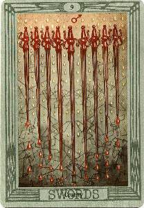 9 of Swords from the Thoth Tarot Deck