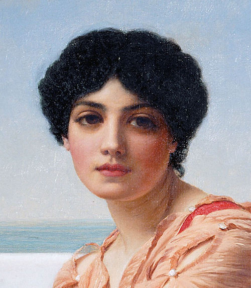"Detail from John William Godward's ""Reverie"" [Public domain], via Wikimedia Commons"