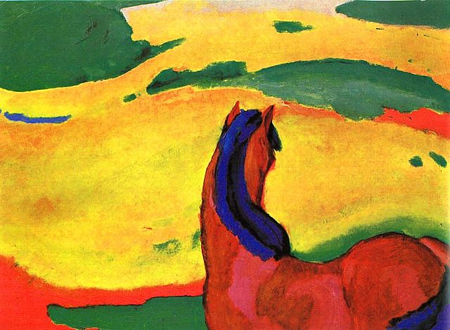 Franz Marc (1880-1916): Horse in a Landscape (Pferd in Landschaft), 1910, Museum Folkwang, Essen. {{PD}}, https://commons.wikimedia.org