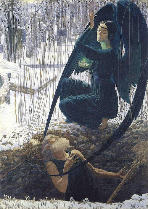 "Carlos Schwabe - 1890's, ""Death and the Gravedigger"",  Public Domain, https://commons.wikimedia.org"