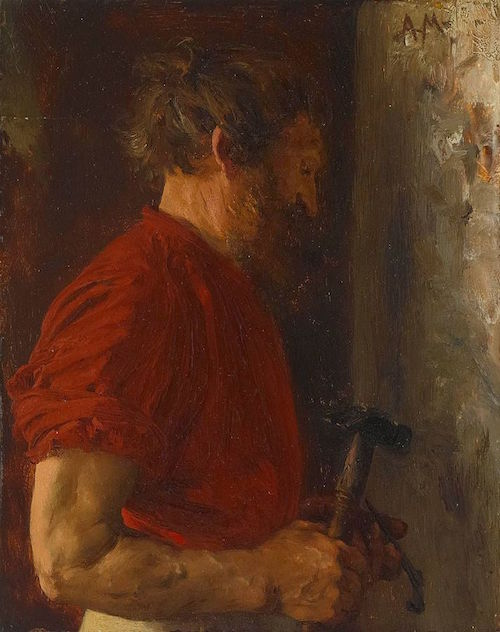 "Adolph Menzel, 1867, ""Bärtiger Arbeiter"" -Public Domain, https://commons.wikimedia.org"