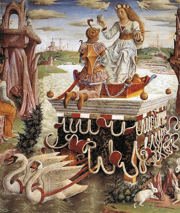 "Francesco del Cossa, detail from ""The Triumph of Venus"" - Public Domain, https://commons.wikimedia.org"