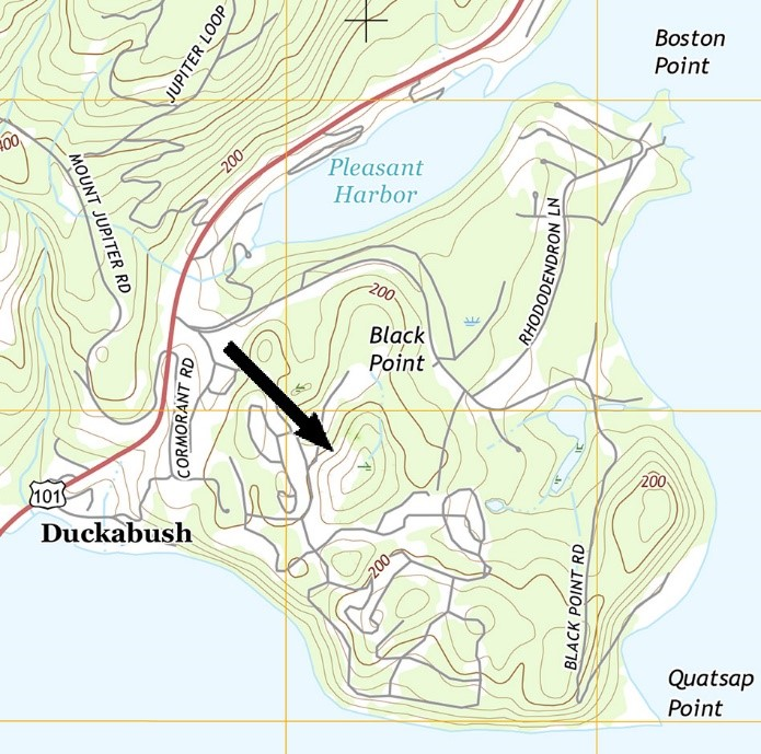 - Topographic map showing location of the largest kettles on Black Point, called Kettles B & C by the developer.