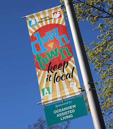 Posters & Signage Design Portfolio: Downtown Lightpole Banners: Beverly Main Streets.