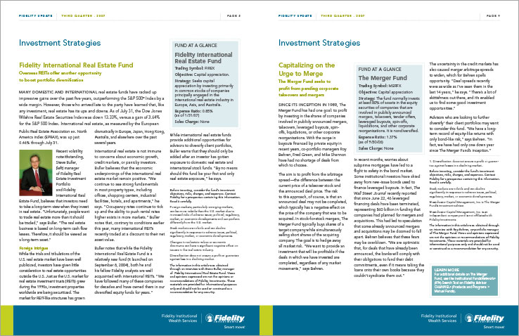 Newsletter Design Portfolio: Financial newsletter design: Fidelity Investments.