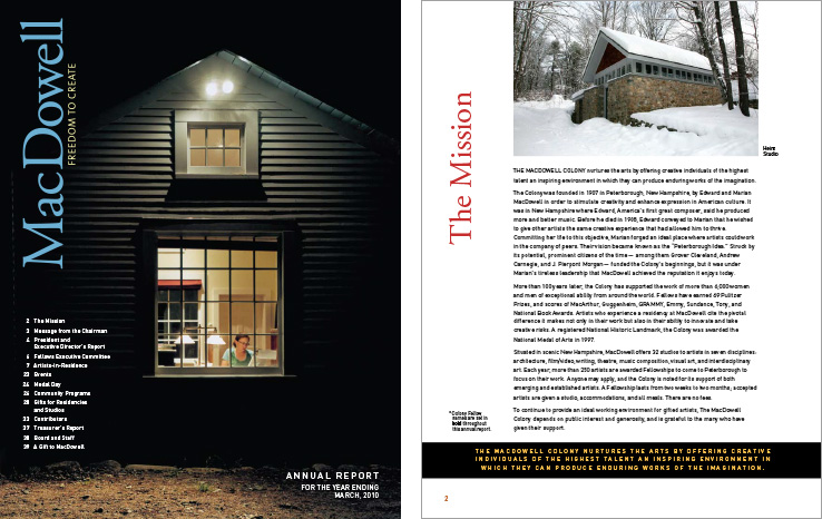 Corporate Annual Report Portfolio: MacDowell Colony