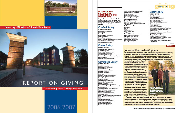 Annual Report Portfolio: Donor Report: University of Northern Colorado