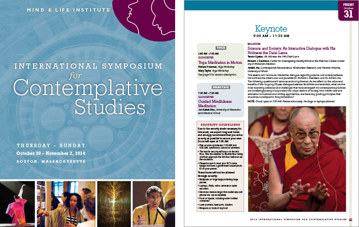 Program & Catalog Design: International Symposium for Contemplative Studies Program : Mind & Life Institute
