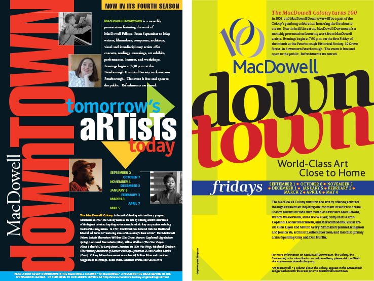 Posters & Signage Design Portfolio: MacDowell Downtown Posters: MacDowell Colony..