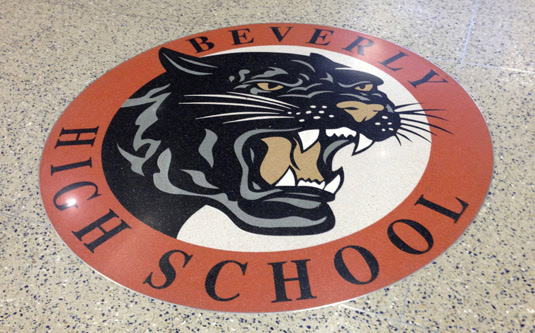 Logo and Identity Design Portfolio: Beverly High School Logo: Terrazzo School Seal Design.