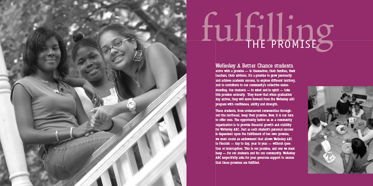 Marketing Collateral Design Portfolio: Fundraising Brochure: Wellesley ABC