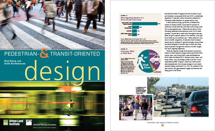 Book Design Portfolio: Urban design book: Pedestrian- and Transit-Oriented Design.