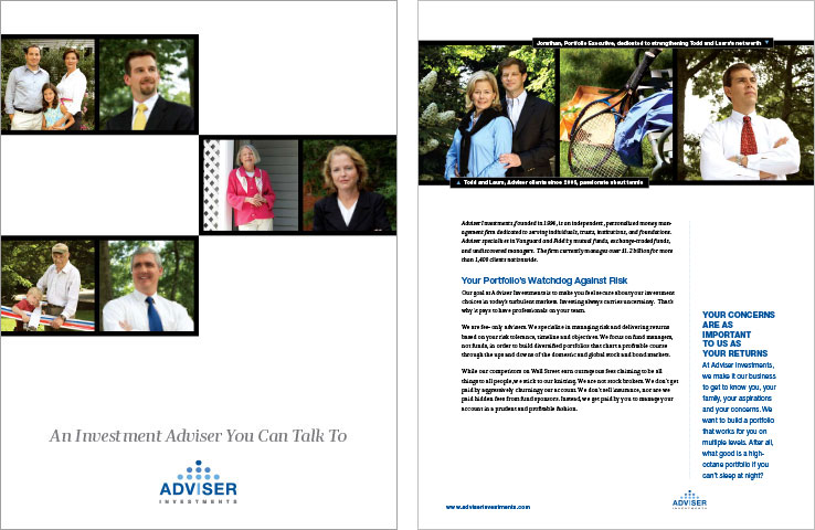 Marketing Collateral Design Portfolio: Company Brochure: Adviser Investments