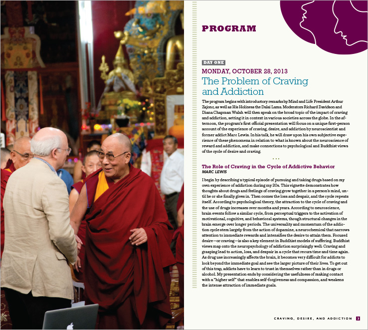 Program & Catalog Design: Dharamsala Conference Program: Mind & Life Institute.