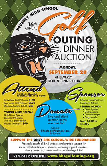Posters & Signage Design Portfolio: BHS Golf Outing Poster: Beverly High School.