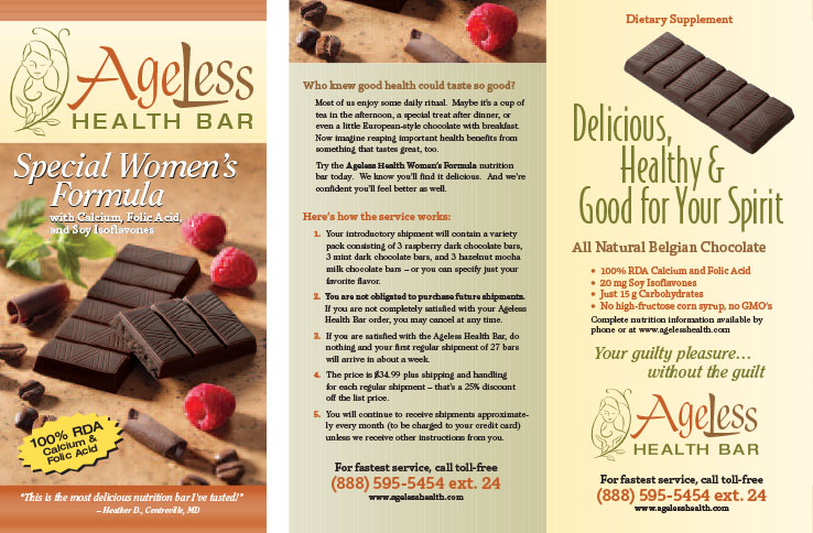 Marketing Collateral Design Portfolio: Product Brochure: Ageless Health Bar