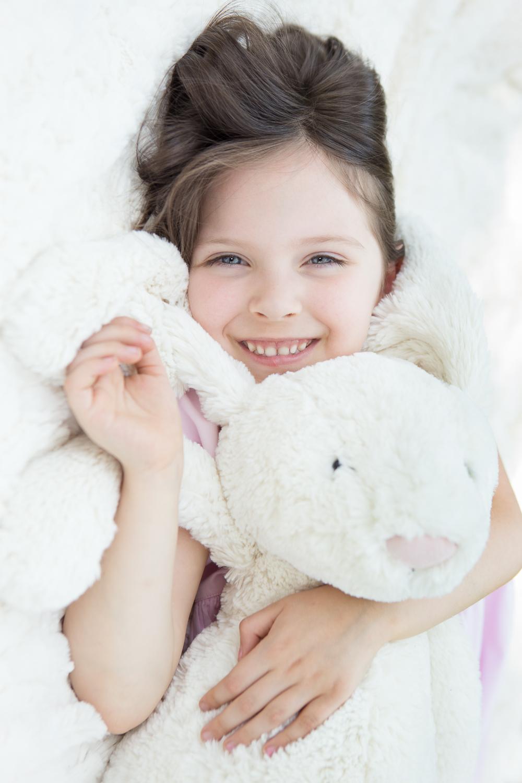 Love for Her Rabbit | Main Line Philadelphia Child Photographer