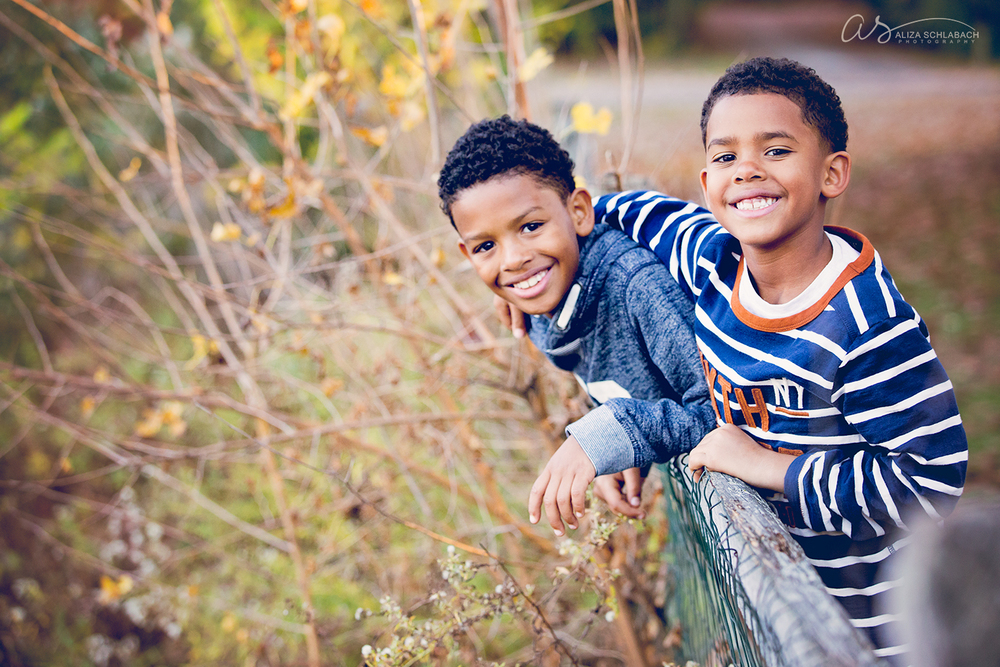 Photo of two cute brothers on a fence
