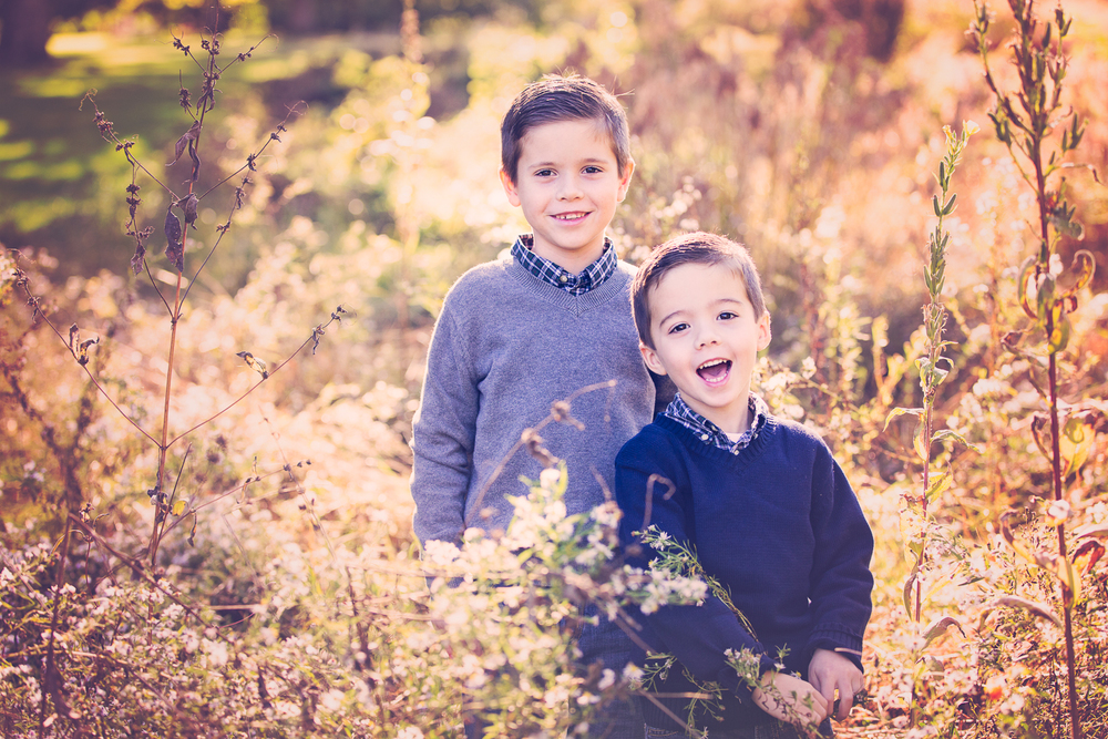 Golden hour photo of 2 brothers in a field