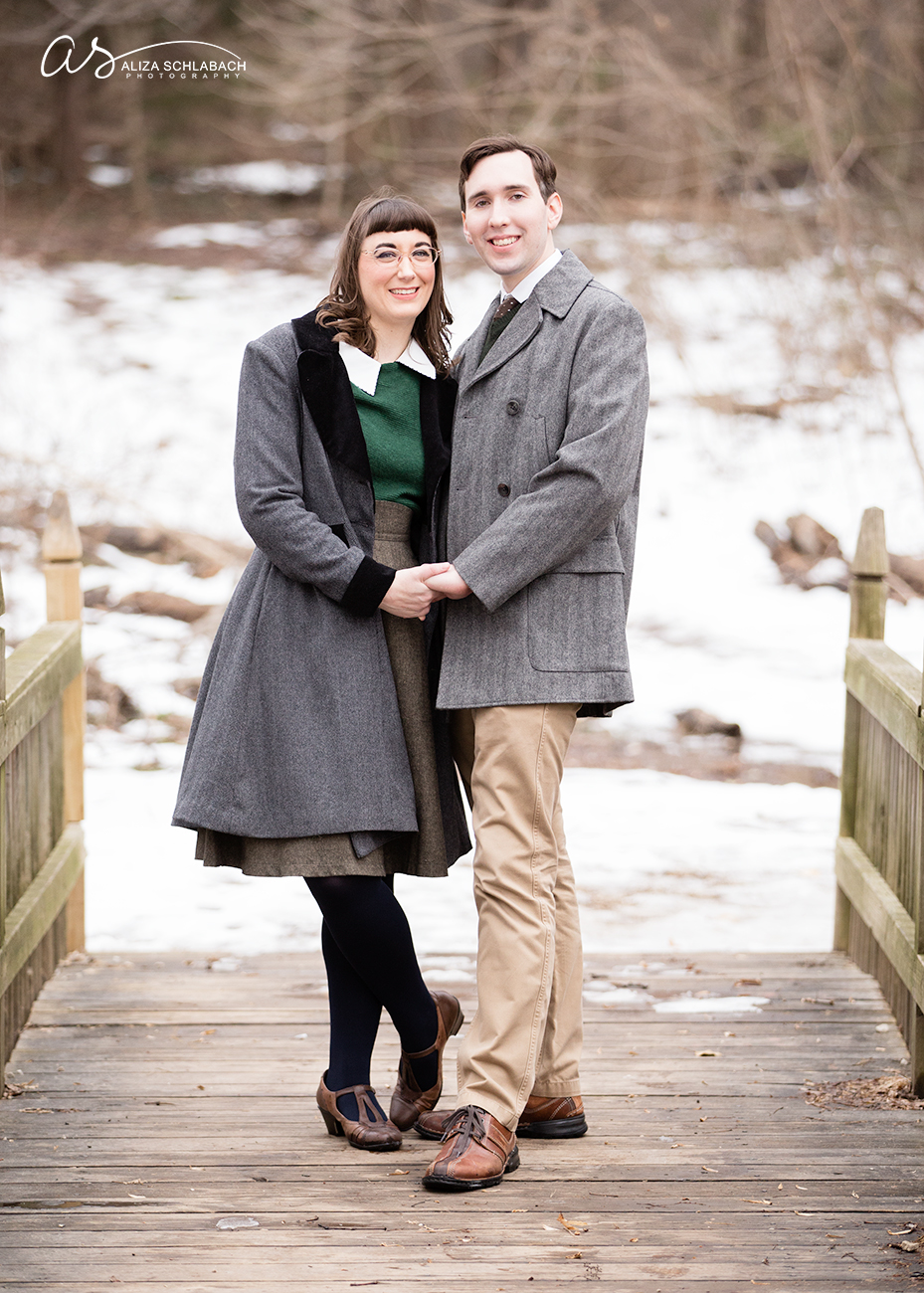 photo | on a bridge | engagement portrait at Haverford College in winter