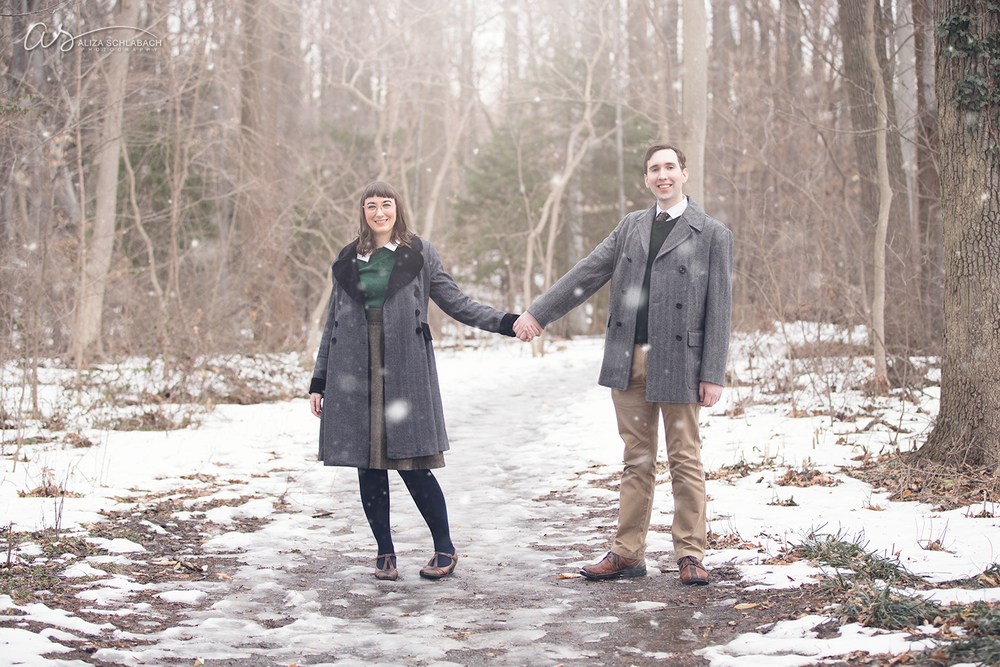 Photo: holding hands | engagement portrait at Haverford College in winter