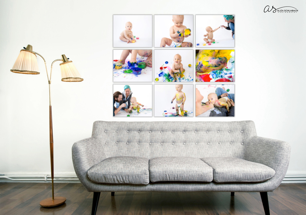 Photo of wall collage gallery, photos of one year old baby playing with finger paint on white background