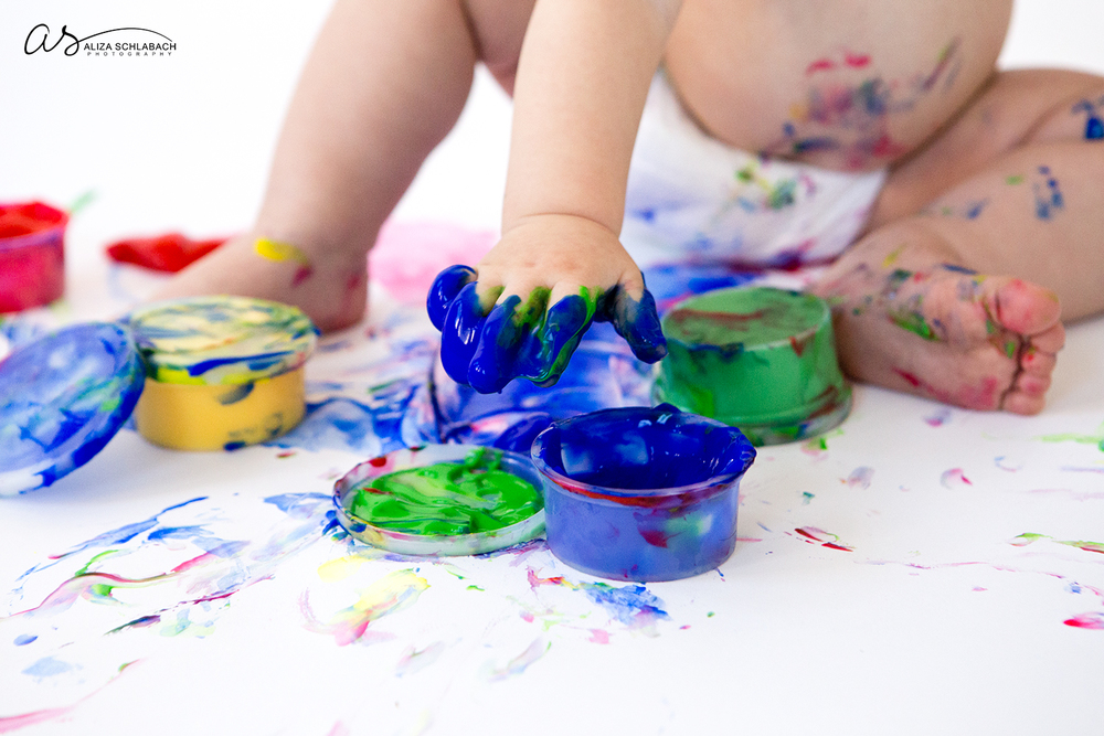 Photo: detail show of one year old fingerpainting