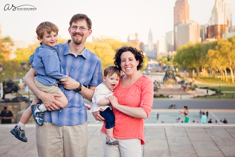 Family portrait on the steps of the Philadelphia Museum of Art
