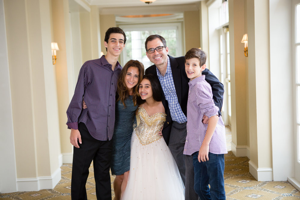 Family photo at Bat Mitzvah reception in country club