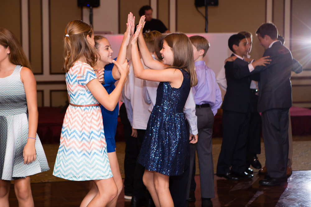 Photo of girls dancing at Bat Mitzvah
