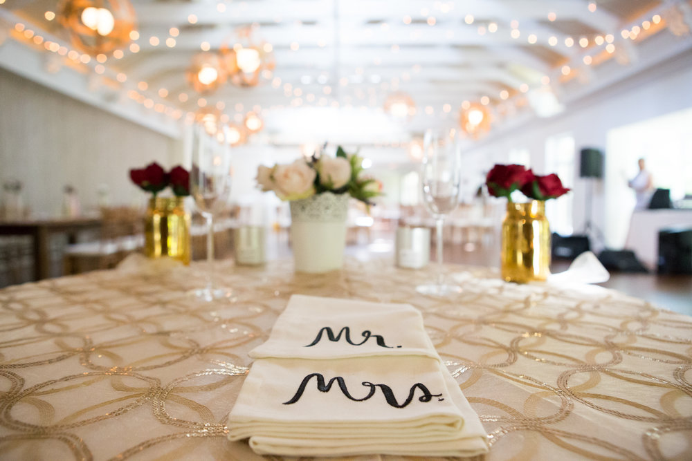 Photo of bride and groom's table at wedding reception