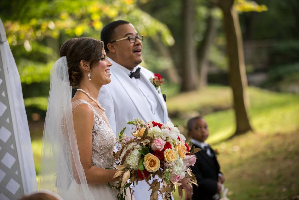 Bride and Groom at conclusion of outdoor ceremony