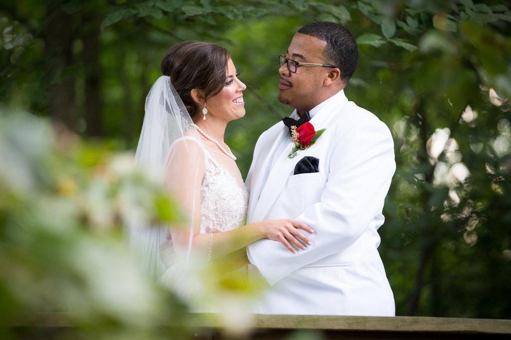 Outdoor portrait of bride and groom