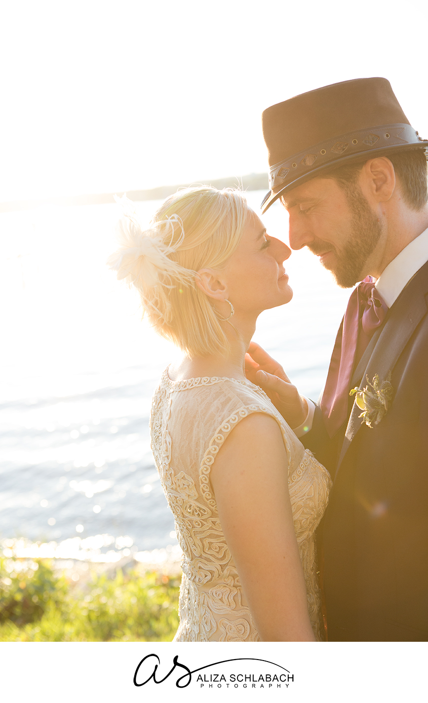 Photo of a backlit bride and groom