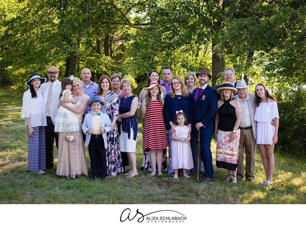 Large group family photo after the wedding