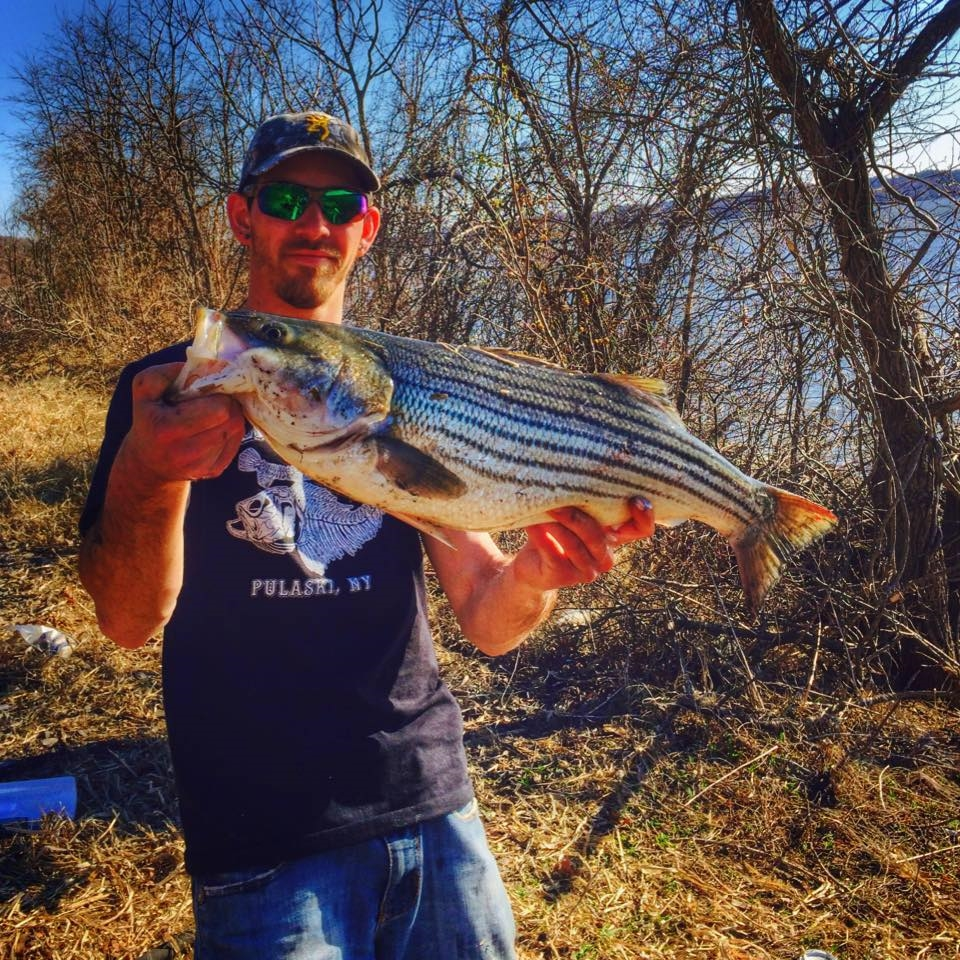 Local angler Dave Maneri with a Striped Bass he landed Saturday.